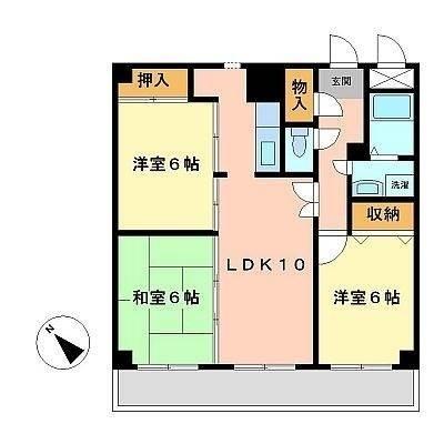 3LDK全部屋6帖以上。駐車場5,400円で平置き取れます。