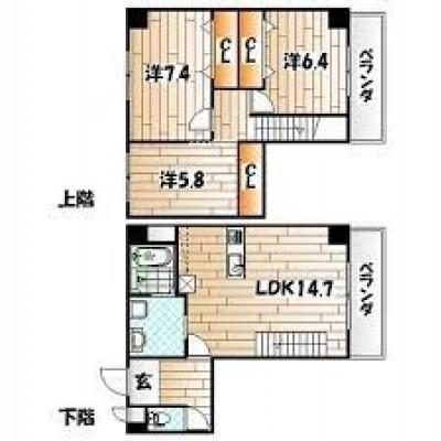 中津口エリアにある賃貸マンション!メゾネットタイプなので14階が最上階!ペットも相談可能です!(小型犬のみ・ペット飼育の場合+2000円)